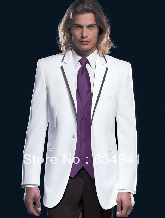 Preferred sell western wedding custom mens suits in italy white coat black trousers purple vest tie man groomsman g in suits from mens