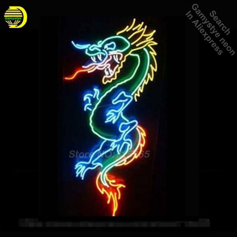 Neon Sign DRAGON Open Neon Light Sign Glass Tube Neon Bulbs Beer Bar Pub Recreation Room Wall Signs Store Display 30x18 Dropship neon sign open live nudes sexy girl neon light sign decorate real glass tube neon bulb arcade neon sign glass store display17x14