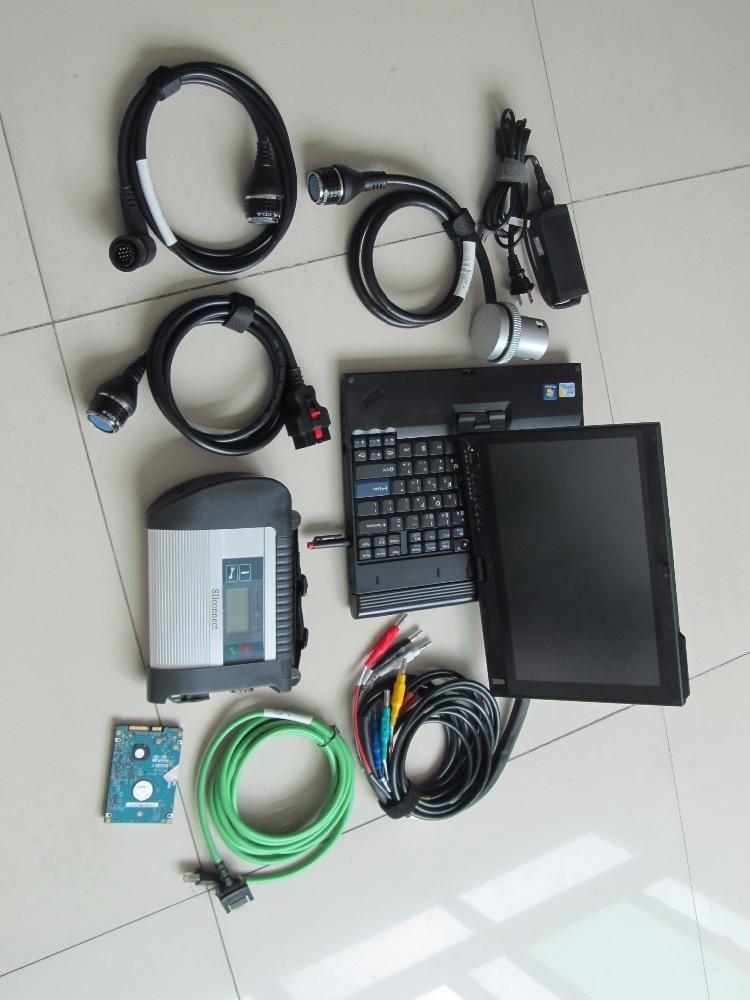 Цена за Топ-Номинальная Wi-Fi MB Star C4 SD подключения инструмента диагностики с ноутбука + V2017.07 MB Star C4 программное обеспечение HDD + X200t сенсорный ноутбук MB SD C4