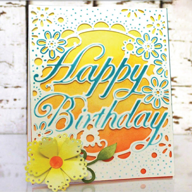 2018 happy birthday letter frame metal cutting dies embossing stencil scrapbooking photo album card making decoration