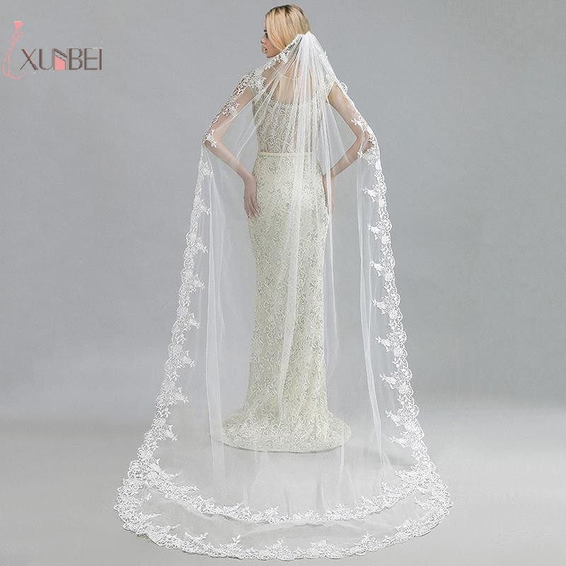Купить с кэшбэком White Ivory One Layer Cathedral Length Long Bridal Wedding Veil With Comb Lace Edge Applique Wedding Accessories
