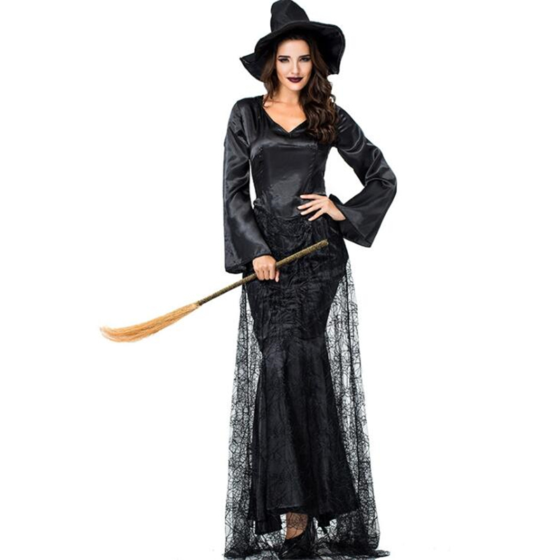 New Arrival Womens Black Witch Costume Halloween Carnival Performance Party Cosplay Clothing