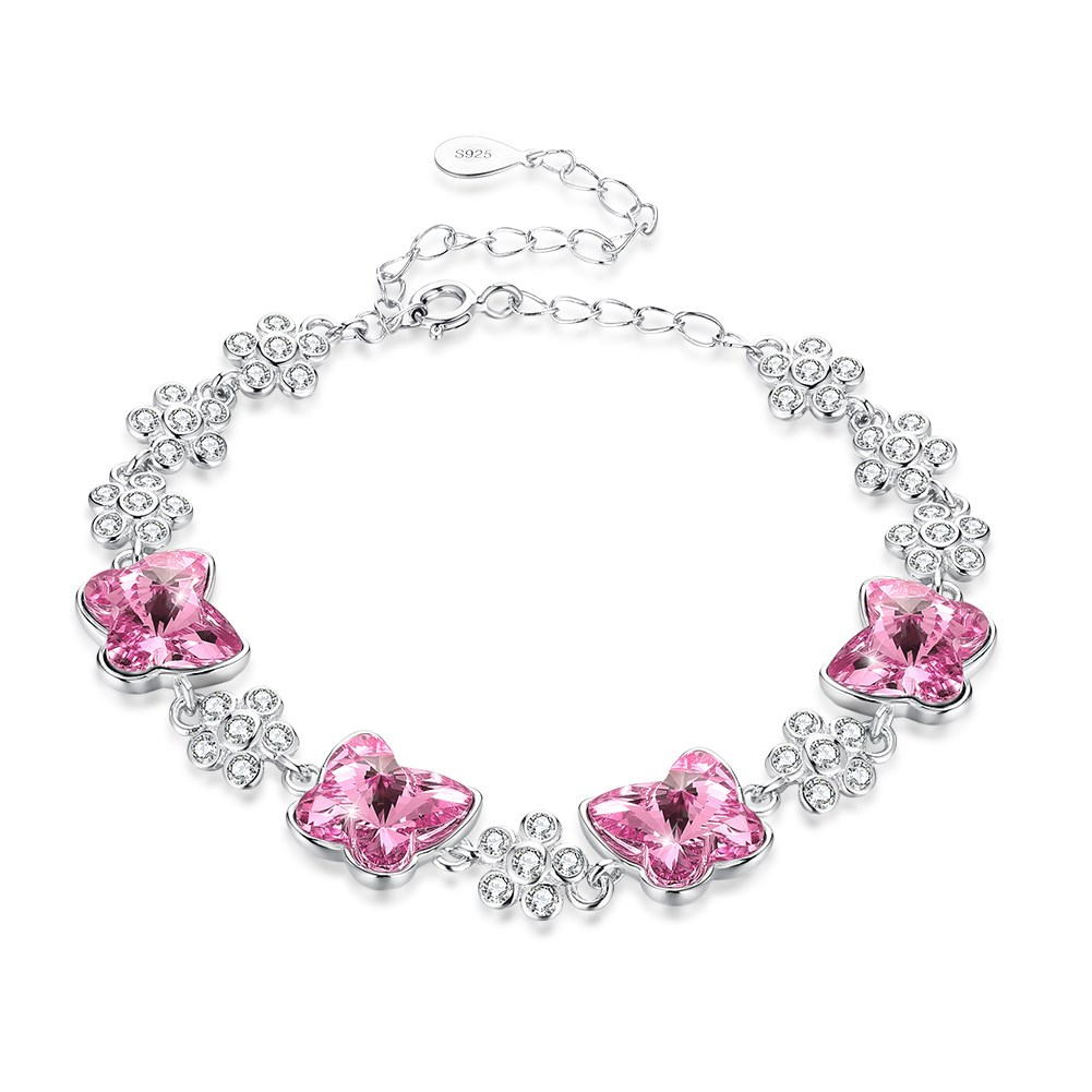 INALI S925 Stering Silver Bracelet With Butterfly Stone Crystals from Swarovski for Women Bracelet Blue Pink Rhinestone Elegant