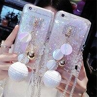 For IPhone 5 5S 6 6S Plus Luxury Bling Snowball Rhinestones Diamond Liquid Glitter Sand Lanyard