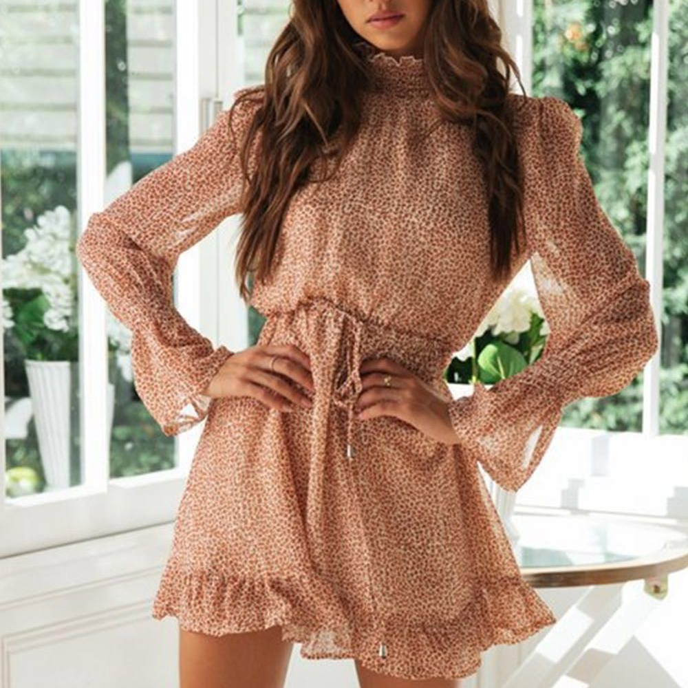 Tosheiny 2019 Women High Neck Long Sleeve Floral Print Dresses Female Elegant Mini Dress DM0215