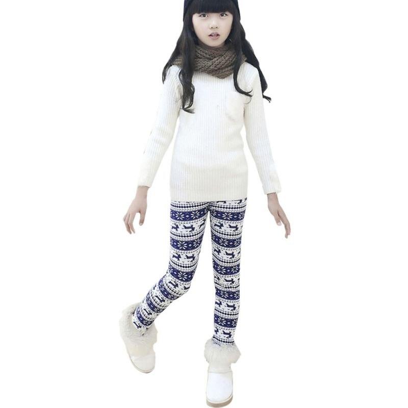 2017 Neue Koreanische Stil Herbst Winter Warme Weihnachten Leggings Velvet Blumendruck Mädchen Hosen Kinder Kinder Hosen Mädchen Kleidung