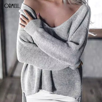 ORMELL Winter Casual Split V Neck Knitted Sweater Women Loose Pullover Pull Femme Autumn 2016 Long