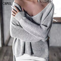 ORMELL Winter Casual Split V Neck Knitted Sweater Women Loose Pullover Pull Femme Autumn 2016 Long Sleeve Jumper