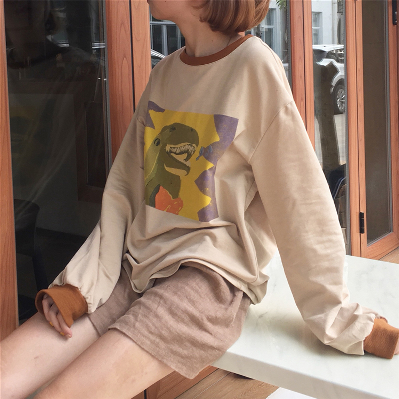 U-SWEAR Top Woman Clothes Spring Korean Ulzzang Harajuku Cartoon Print Patchwork Color Long Sleeve shirt Women Tops Fashion