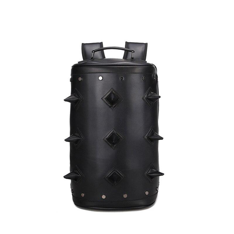 JIEROTYX nouveauté célèbre Design sac femmes coréen marée RIVET sac à dos en cuir femmes cylindre balle sacs à dos sac de voyage Punk