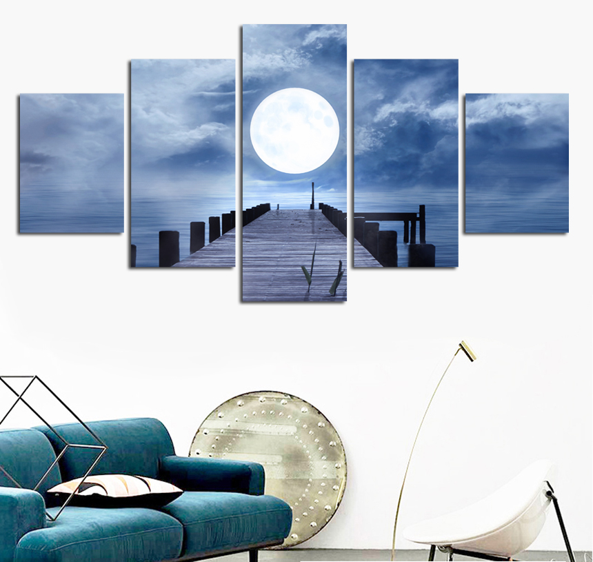5 шт. Луны wall art сумерках pier Декоративные Холст Картина гостиная диван спальня холст без рамки FA490