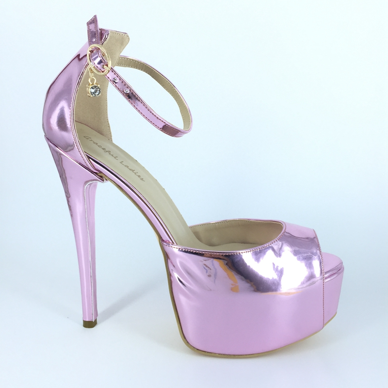Pink Shiny Women Pumps Ankle Strap Peep Toe Thick Platform Shoes Ladies Evening Party Pump Shoes Customized Wedding Shoes