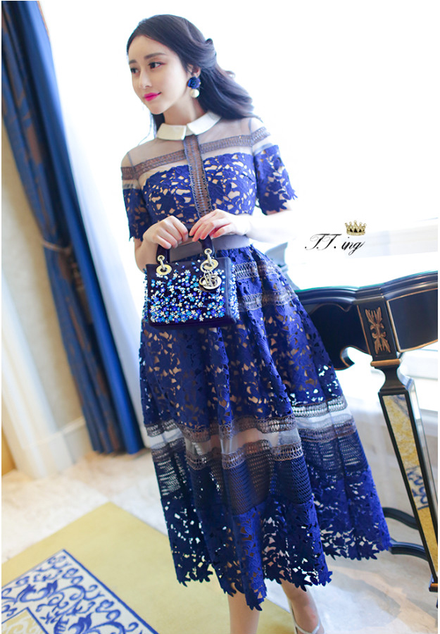 High-end custom  style     summer fashion runway dress Lace embroidery sexy long party dresses