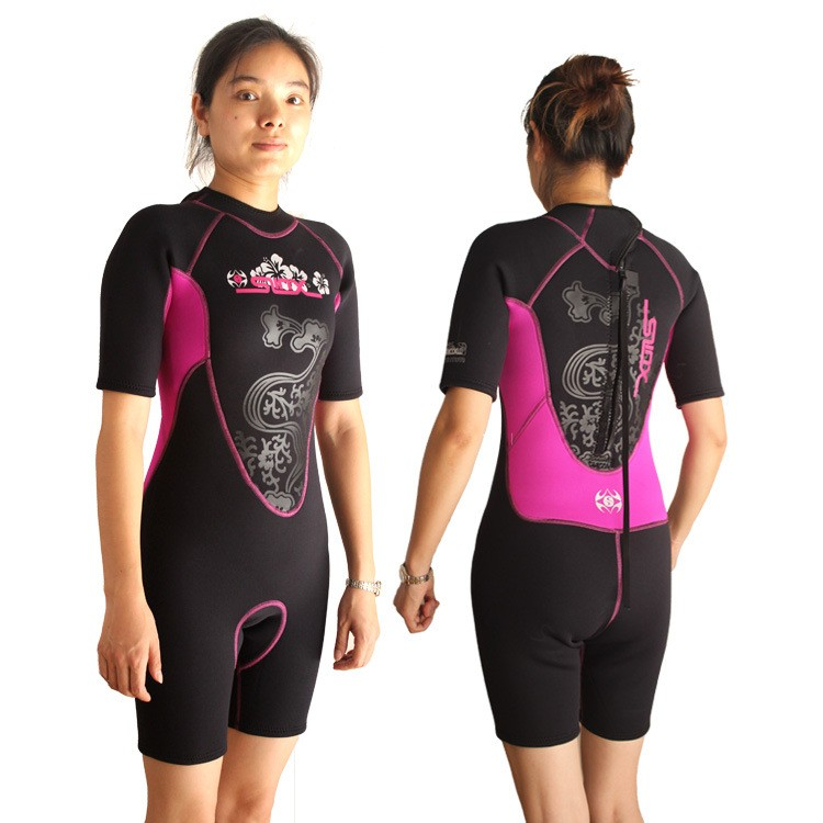 SLINX1104-1 3mm Pink Wetsuit Shorty Women Girl Diving Scuba Surfing Swimming
