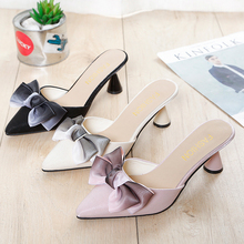 Moxxy 2019 New Luxury High Heeled Mules Shoes Women Ladies Outdoor Bow-knot Slippers Point Toe Pink Black Summer Sandals