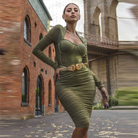 Fashion Olive green Bandage Dress Long Sleeve Bodycon Dress Casual Party Women Dresses Rayon High Quality Vestidos Wholesale