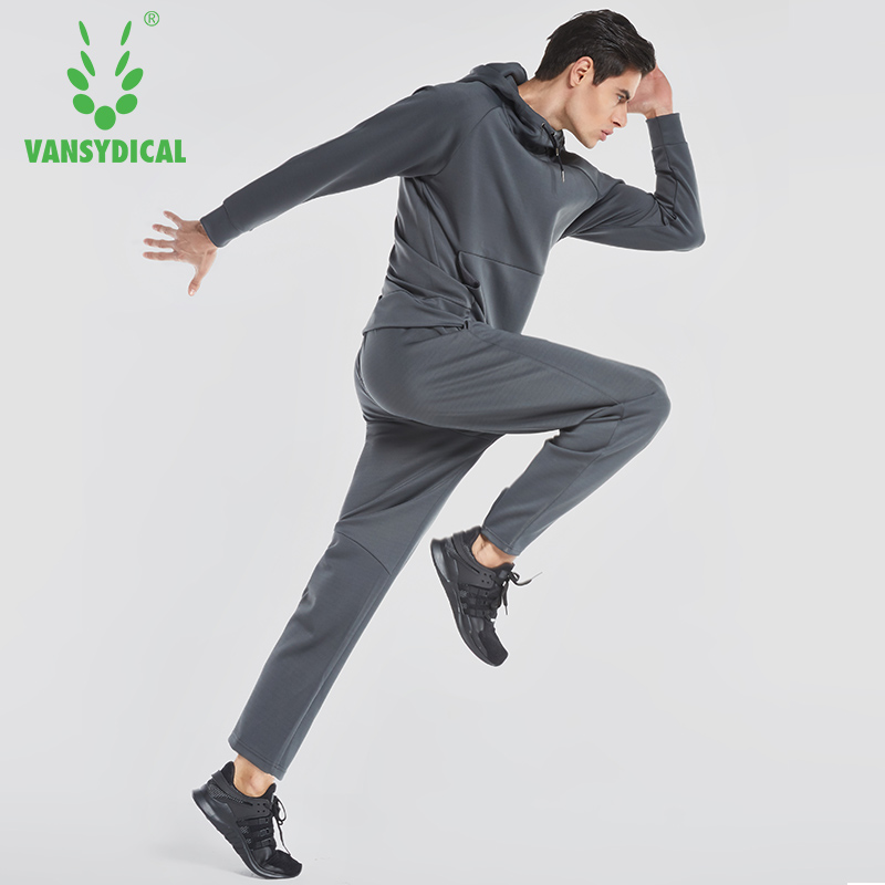 2018 Vansydical Sportswear Set Men's Autumn-Winter Hooded Sweater Long Sleeve Casual Sports Running Suit Two-piece Set autumn and winter wear new suit children sweater hooded culottes two piece suit for girls
