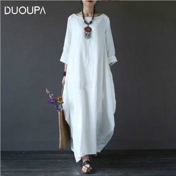 DUOUPA 2019 Spring Plus Dresses Women 4xl 5xl Loose Large Size O-neck White Boho Dress Long Sleeve Maxi Robe New 2019 spring new women half sleeve loose flavour black dress long summer vestido korean fashion outfit o neck big sale costume