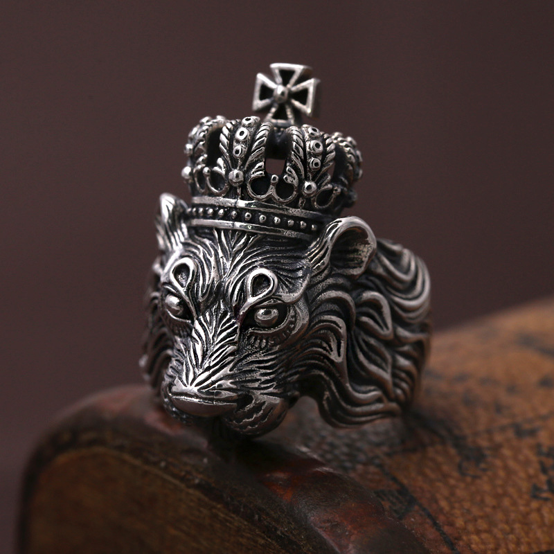 FNJ Punk Lion Ring 925 Silver Jewelry New Fashion S925 Sterling Silver Rings for Men Size