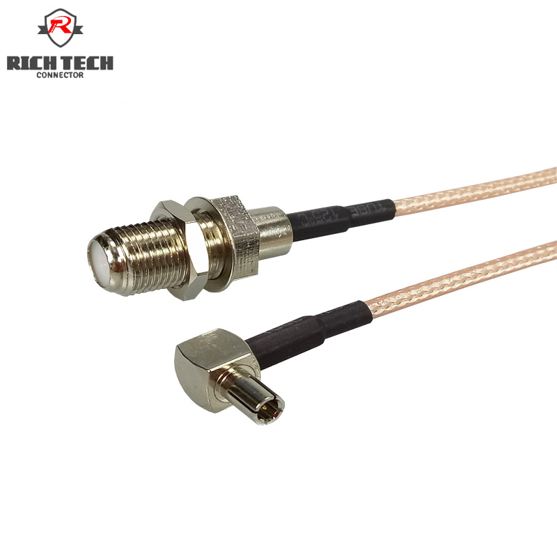 50pcs 15cm 5 9 Coaxial RF Cable Connector 3G Modem TS9 Right Angle to F Female