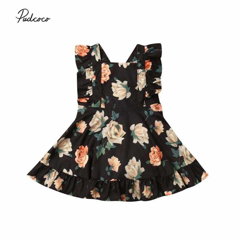 Коллекция 2019 года, летняя одежда для малышей платье для маленьких девочек платье-пачка принцессы с оборками и цветочным рисунком платье без рукавов
