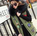 2017 badge logo winter vest jacket women street fashion Large fur collar hooded army green waistcoat plus size T322