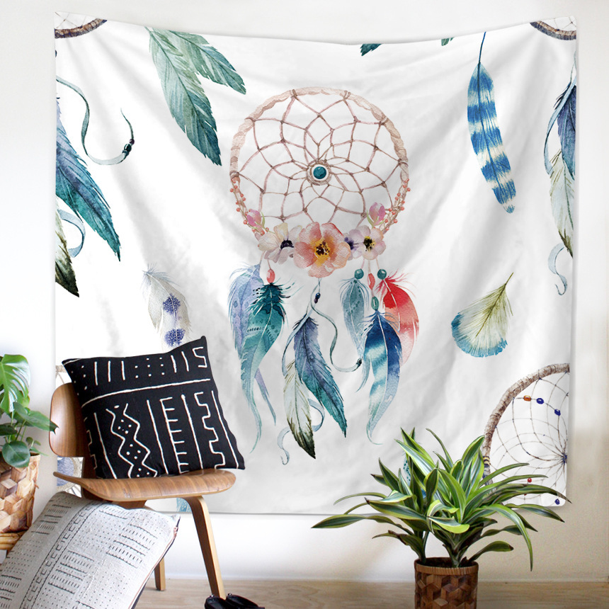 Bohemian Indian Watercolor Dreamcatcher Tapestry Blanket