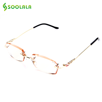 SOOLALA Titanium Eyeglasses Rimless Reading Glasses Diamond Cutting Rhinestone Glasses Anti-Reflection Lens Anti Scratch Glasses reflection