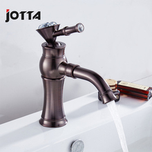Brown bronze European-style rotating water single hole basin copper hot and cold faucet