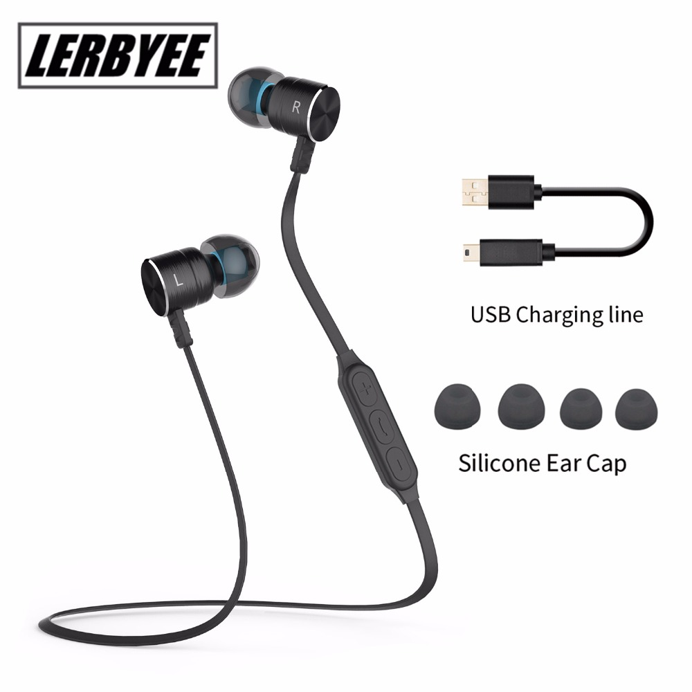 Lerbyee Magnetic Wireless Earphones Sport Running Bluetooth Headsets with Mic Stereo Headphones For iPhone for Xiaomi forAndroid picun p3 hifi headphones bluetooth v4 1 wireless sports earphones stereo with mic for apple ipod asus ipads nano airpods itouch4
