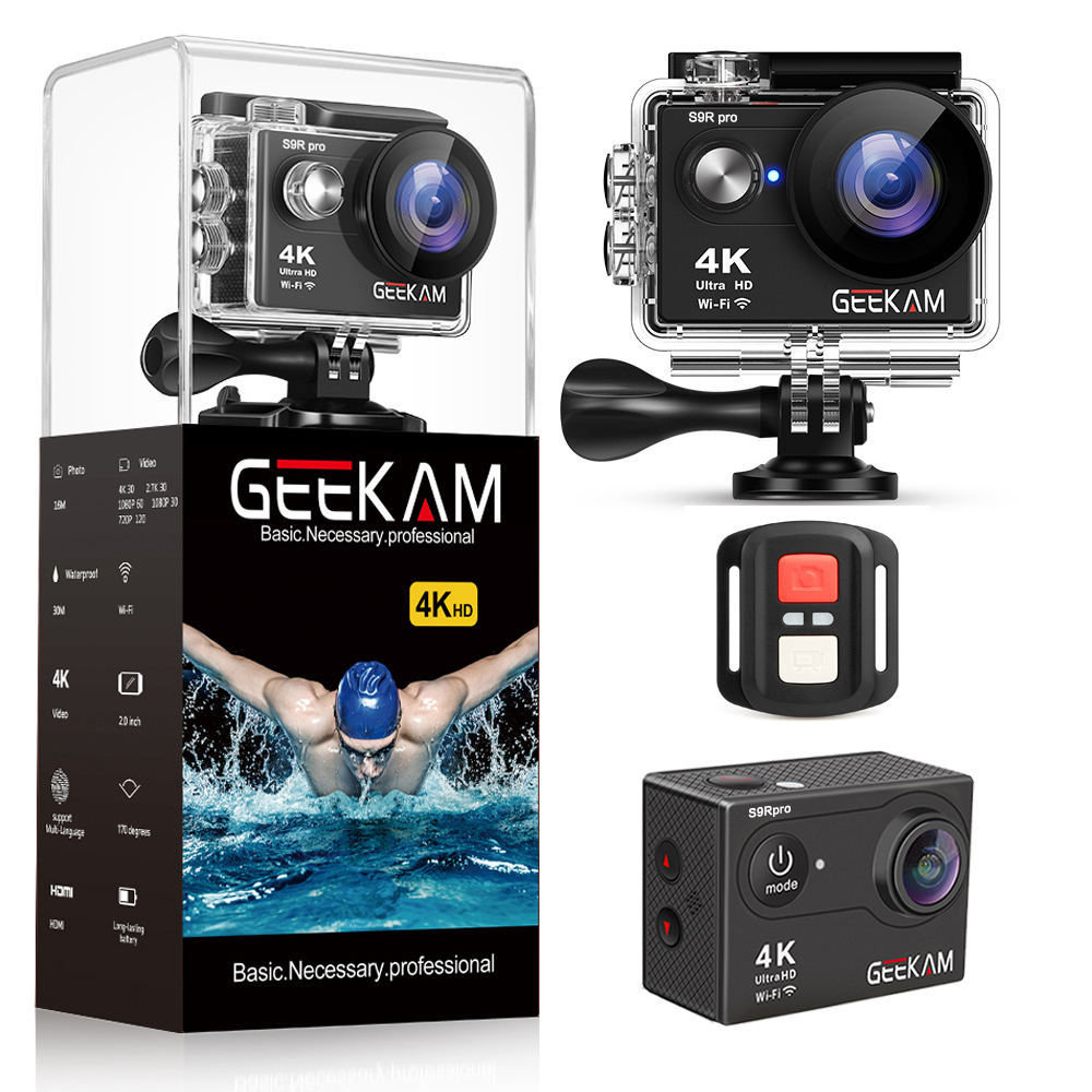 GEEKAM S9Rpro Action Camera Ultra HD 4K 30fps 16MP WiFi 2.0 Underwater Waterproof Helmet Video Recording Cameras Sport CamGEEKAM S9Rpro Action Camera Ultra HD 4K 30fps 16MP WiFi 2.0 Underwater Waterproof Helmet Video Recording Cameras Sport Cam