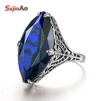 Szjinao New Brand Women Big Sapphire Flower Ring Wedding Real Pure 925 Solid Sterling Silver Vintage Party Handmade Fine Jewelry