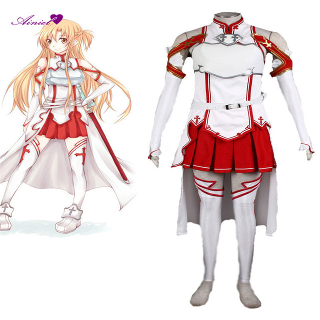 Sword Art Online Asuna Yuuki Cosplay Costume Outfit Gown Dress Full Set  Suit CS195212