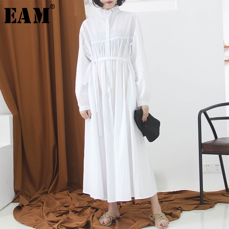 [EAM] 2020 New Spring Autumn Stand Collar Long Sleeve White Ruffles Stitch Pleated Loose Long Shirt  Dress Women Fashion JK988