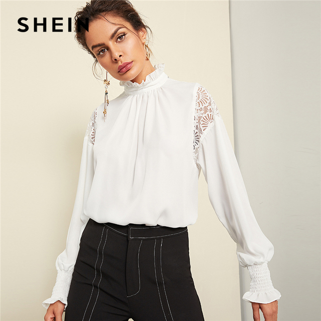 0ad9b3ef SHEIN White Sheer Lace Insert Flowy Top Elegant Frill Button Stand Collar  Solid Blouse Women Autumn