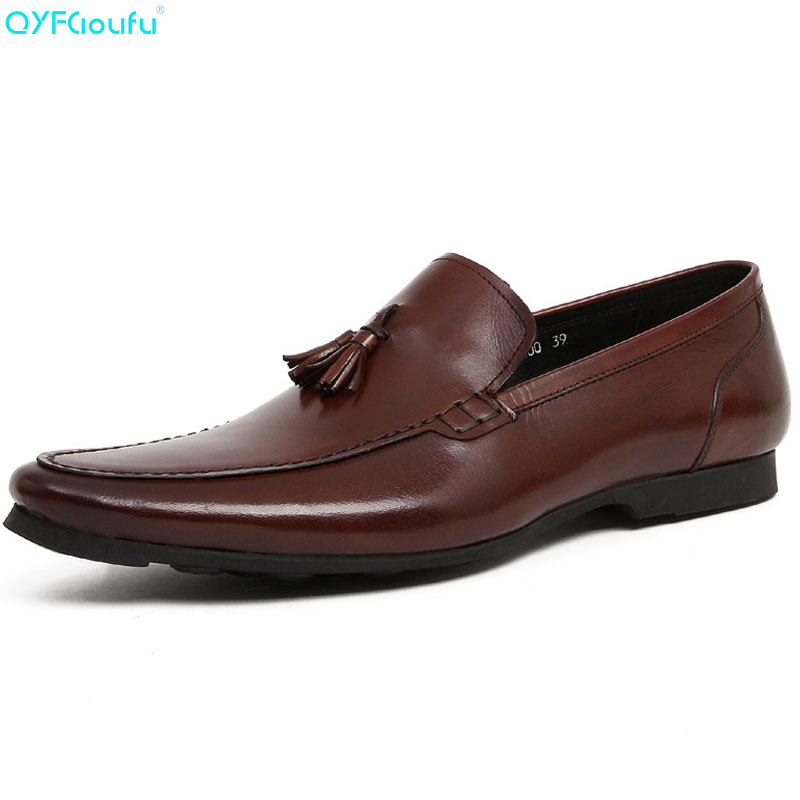 QYFCIOUFU Fashion Genuine Leather Oxford Shoes For Men Dress Shoes Men Formal Shoes Black Brown Tassel Business Casual ShoesQYFCIOUFU Fashion Genuine Leather Oxford Shoes For Men Dress Shoes Men Formal Shoes Black Brown Tassel Business Casual Shoes