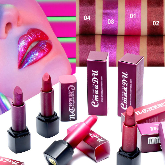 Professional Lips Makeup Lip Stick Waterproof Long Lasting Pigment Nude Pink Mermaid Shimmer metal color Lipstick Luxury Makeup 1