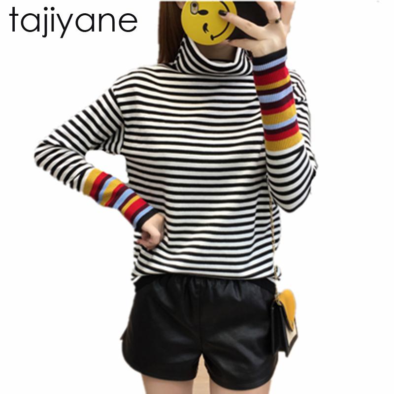 TAJIYANE New Striped Knit Shirt Long Sleeves Sweater Ladies Spring Winter Sweater Top Quality clothing New Aririvel SweaterLD195