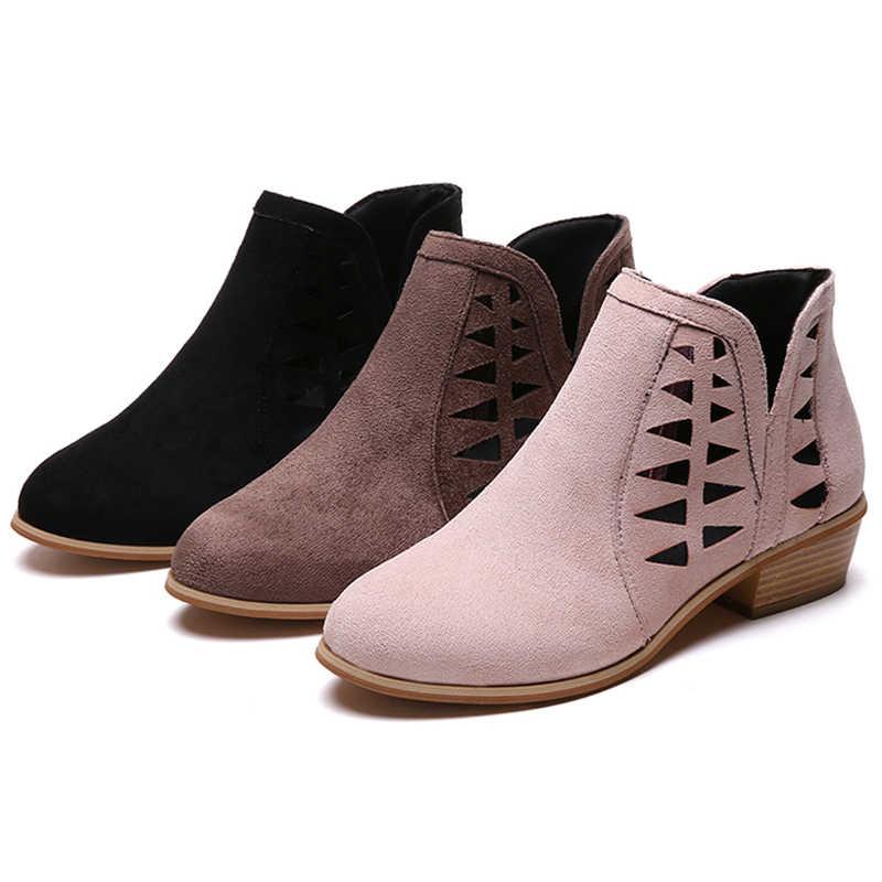 Moda Marka eğlence Büyük Boy 35-43 tıknaz topuklu yaz çizmeler kadın ayakkabıları Kadın Rahat Retro zip up kadın ayakkabı
