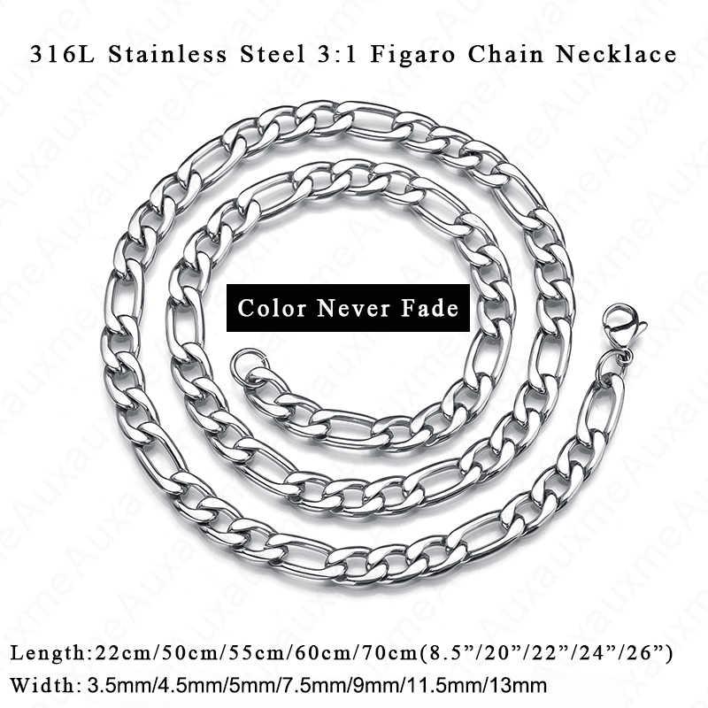 Auxauxme 50-70 łańcuch figaro ze stali nierdzewnej naszyjnik dla kobiet mężczyzn 3:1 kubański Link Chain naszyjnik Punk kolor biżuterii nigdy nie znikną