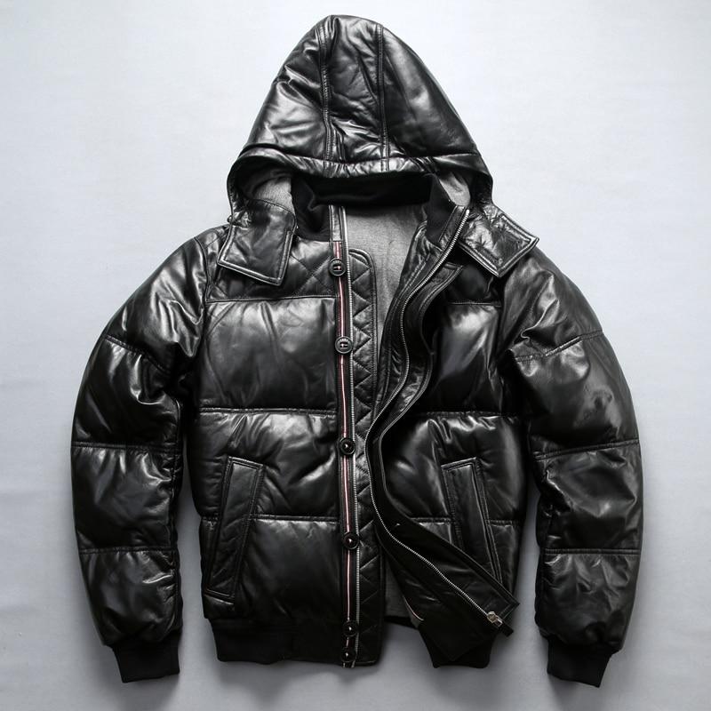 Fabbrica 2018 Nuovo Uomo Nero Genuine Leather Imbottiture Cappotto di Moda Pelle di Pecora Con Cappuccio Pilota Giubbotti Fredda Russia di Inverno Cappotti