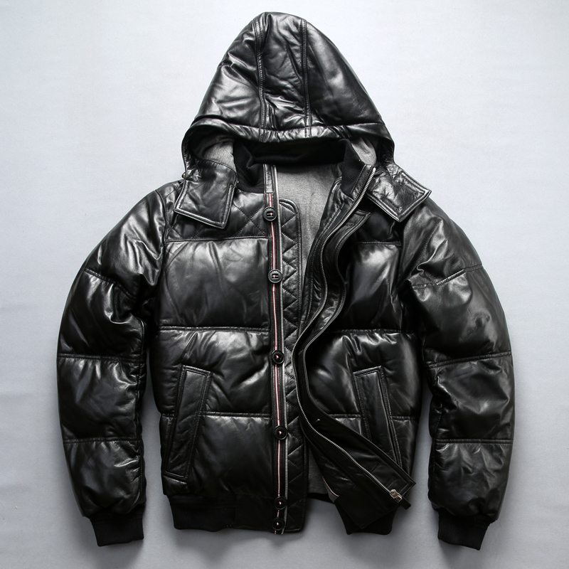 Factory 2018 New Men Black Genuine Leather Down Coat Fashion Sheepskin Hooded Pilot Jackets Cold Winter Russia Coats