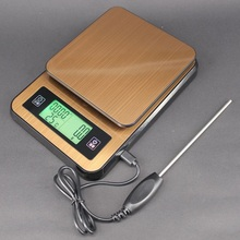 2KG Mini Digital Kitchen Food Scale 0.1g Timer Coffee with Temperature Probe