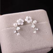 Fashion Crystal Earrings for Women Pearl Women Branch Shell Pearl Flower Stud Earrings Female