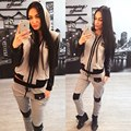 2016 Women Sportswear Set Fashion Patchwork Hoodie Sweatshirt and Pants High Quality Pocket Zipper Tracksuits 2 Piece Set