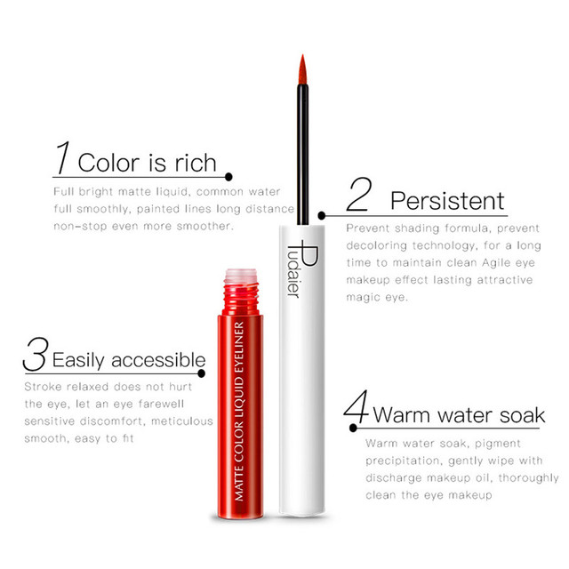 Pudaier Matte Liquid Eyeliner Waterproof Long-lasting Pigment Green Purple Red Orange Color Sexy Eye Liner Party Beauty Cosmetic 2