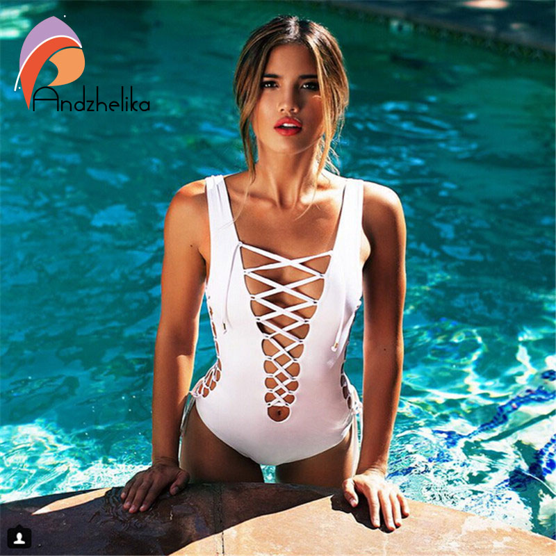 Newest Sexy One Piece Women Swimwear Black White deep v neck backless Rope lace up bodysuit Swimsuit Hollow out trajes de bano one piece trendy rhinestone hollow out heart ear cuff for women