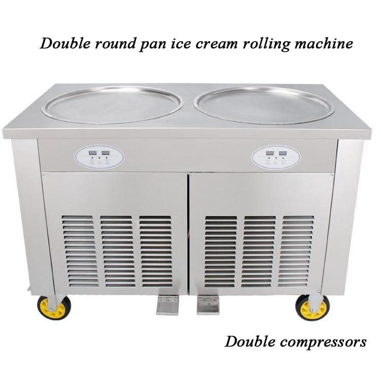 Big Pan Rolled Fried Ice Cream Machine Double Round Pan Thailand Ice Roll Machine Ice Cream Maker