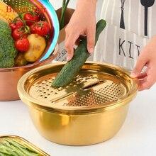 5 em 1 Utensílio de Cozinha Panela De Drenagem De Aço Inoxidável Food Chopper Vegetal Cortador Fatiador Ralador Descascador de Mão Acessórios de Cozinha