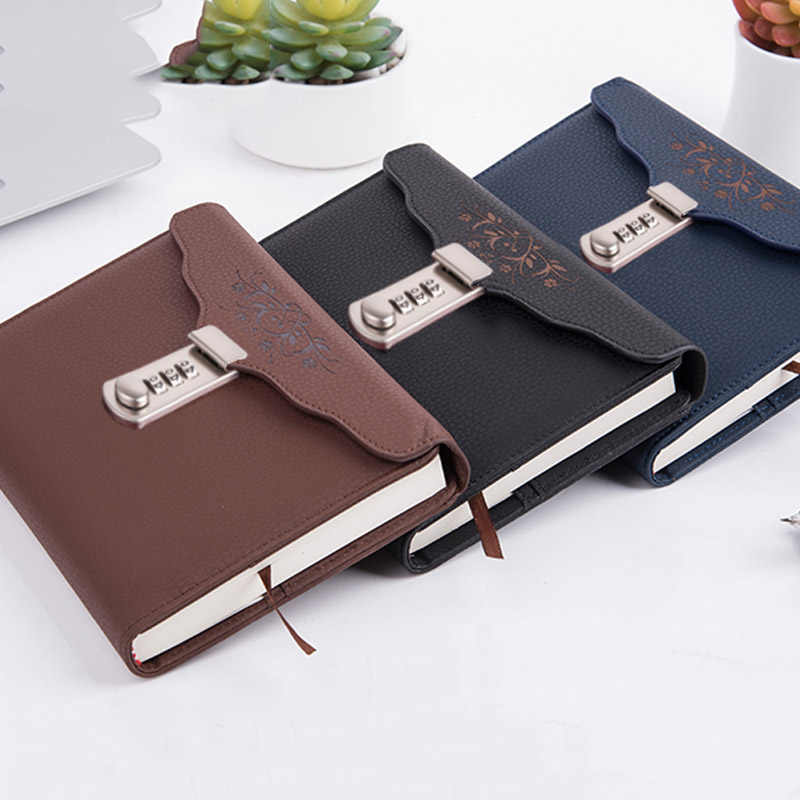 NEW Leather notebook Bussiness Personal Diary with Lock code thick Notepad Stationery products Customized Gift 365 day thick hardcover personal diary